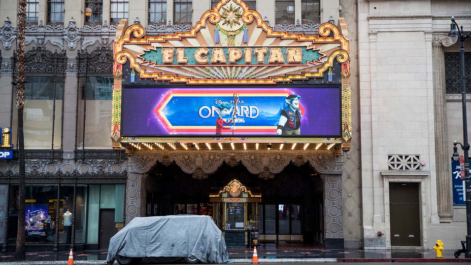 The El Capitan Theatre is seen on March 13, 2020 - Getty - H 2020