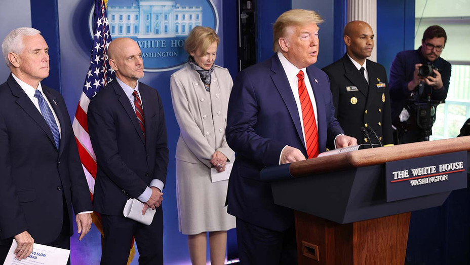Donald Trump speaks during a news briefing White House March 19, 2020 - Getty 1-H 2020