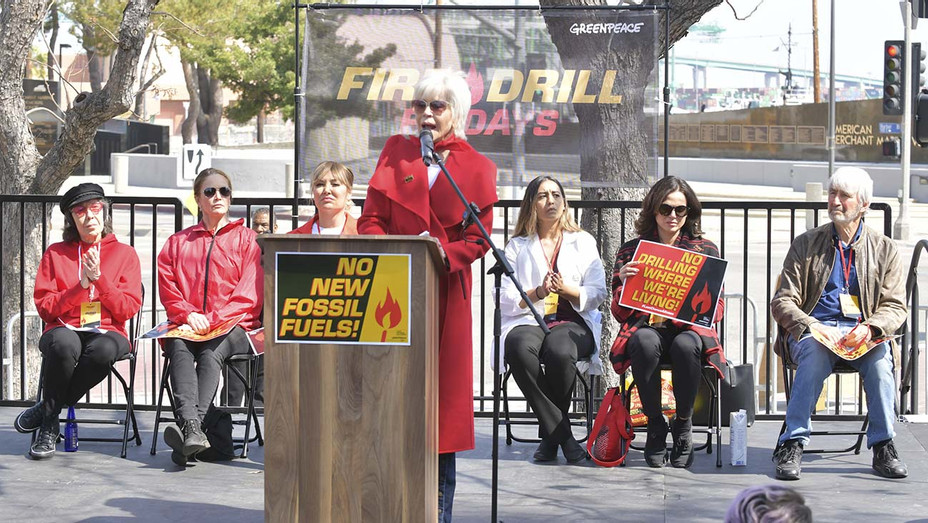Jane Fonda speaks onstage at Greenpeace USA Brings Fire Drill Fridays To California - Getty - H 2020