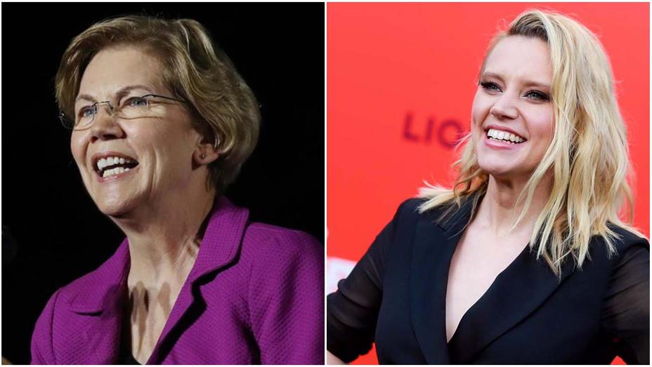 Elizabeth Warren, Kate McKinnon Split — Getty — H 2020
