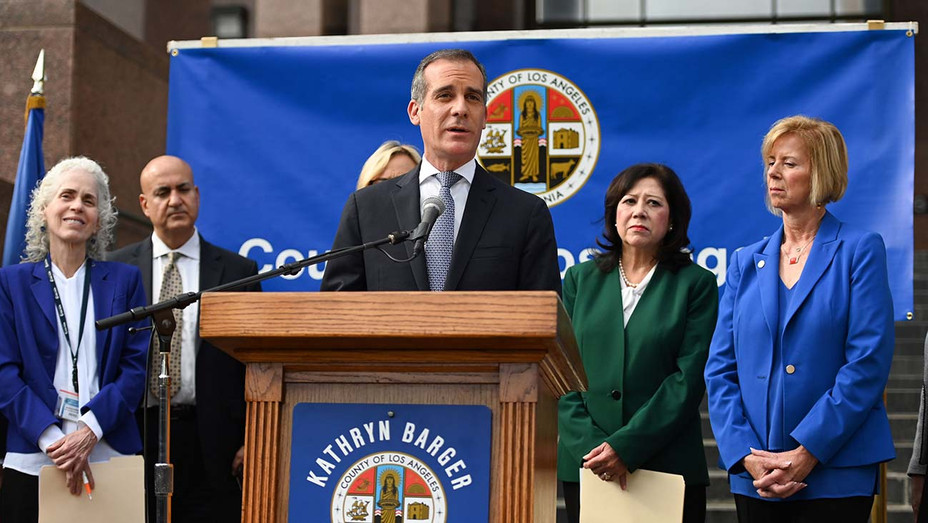 Mayor Eric Garcetti_Coronavirus Press Conference - Getty - H 2020