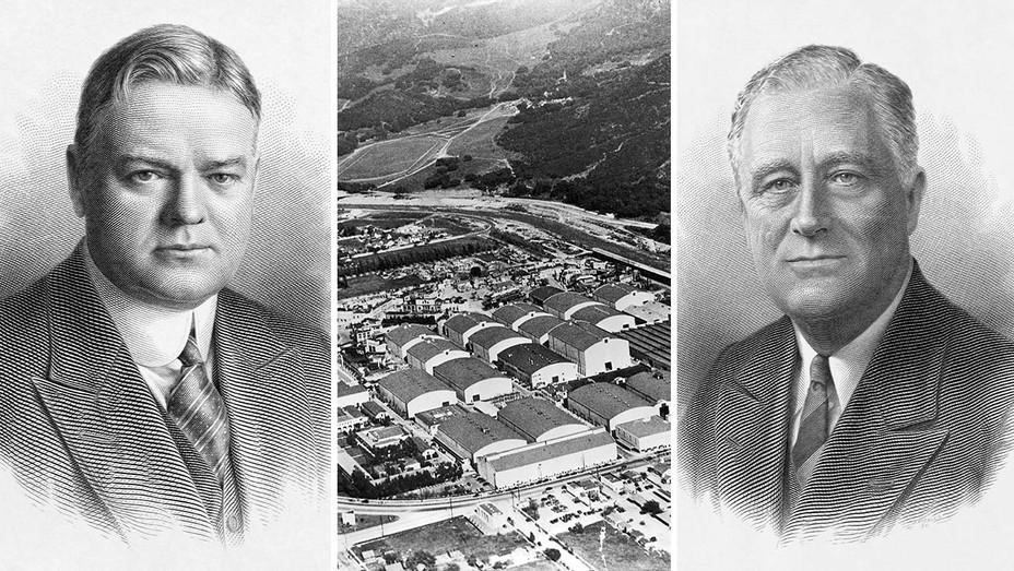 ONE TIME USE ONLY - Herbert Hoover - aerial shot of Warner Bros - Franklin Delano Roosevelt - Getty - Split - H 2020