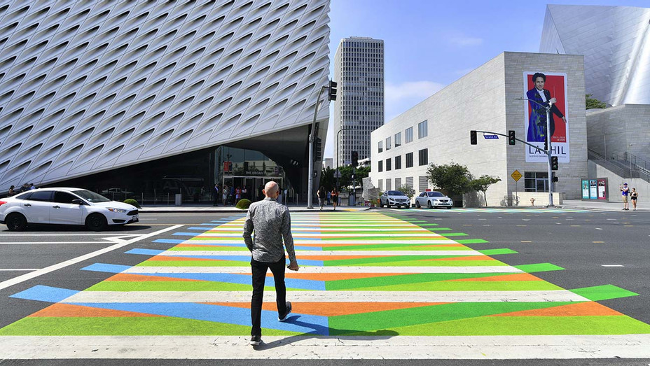 painted sidewalk by Venezuelan-born artist Carlos Cruz-Diez toward the Broad Museum - Getty - H 2020