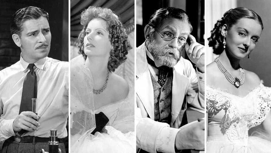 Ronald Colman in ARROWSMITH, Greta Garbo in CAMILLE, Edward G. Robinson in DR. EHRLICH'S MAGIC BULLET and Bette Davis in JEZEBEL - Photofest - Split - H 2020