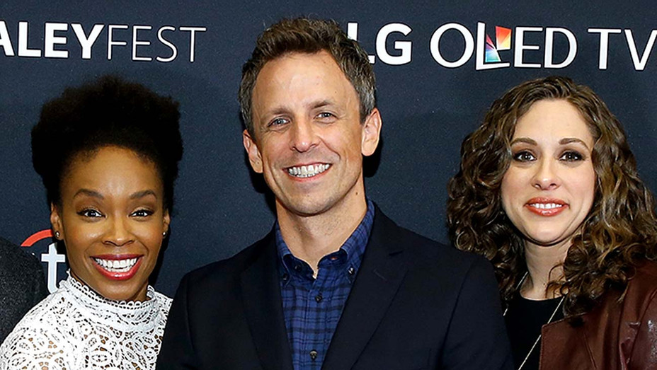 Seth Meyers and Late Night writers Amber Ruffin and Jenny Hagel - Getty - H 2020