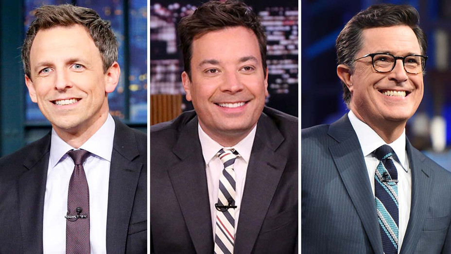Seth Meyers on Late Night NBC, Jimmy Fallon on The Tonight Show NBC and Stephen Colbert on The Late Show CBS-Split-H 2020