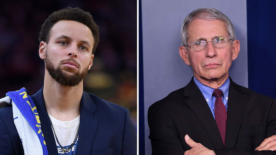 Steph Curry and Dr. Fauci_Split - Getty - H 2020