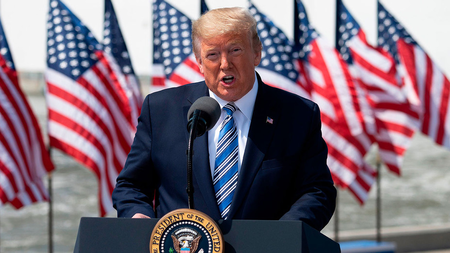 US President Donald Trump during the departure ceremony for the hospital ship USNS Comfo