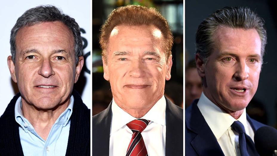Bob Iger, Arnold, Gavin Newsom, Arnold Schwarzenegger - Getty - SPlit - H 2020