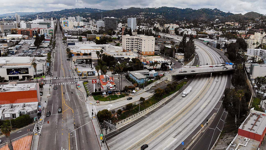 An aerial view of light traffic on Hollywood Boulevard  -Getty - H 2020