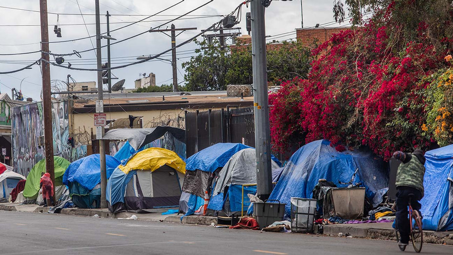 Homeless tents - Skid Row area in downtown Los Angeles, California on March 19, 2020 - Getty-H 2020