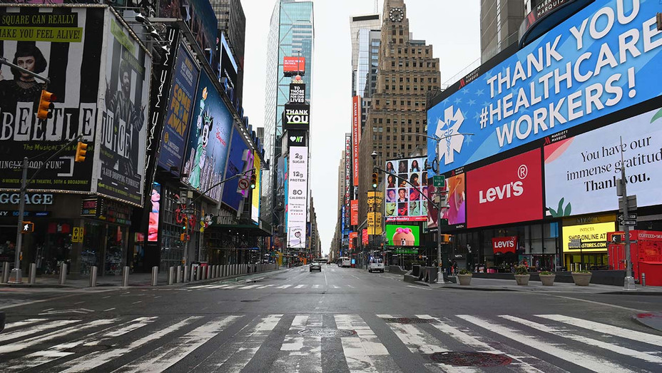Coronavirus Pandemic - New York Streets - Times Square - Getty -H 2020