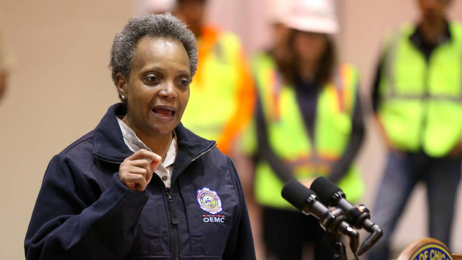 Chicago Mayor Lightfoot at the the COVID-19 alternate site at McCormick Place - H Getty 2020
