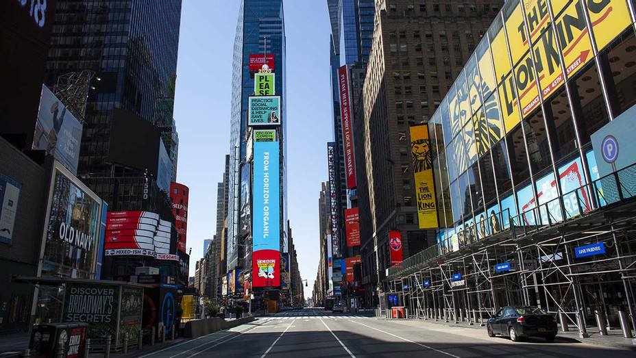 Times Square on April 6, 2020 in New York City- near empty street - Getty-H 2020