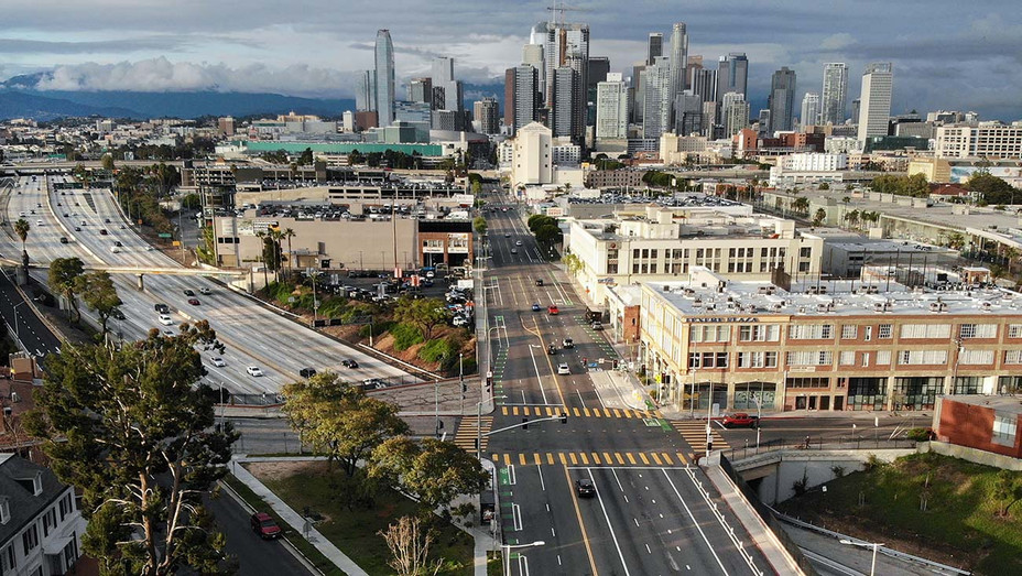 Coronavirus Pandemic - Los Angeles Streets - South Figueroa Street and the I-110 freeway - Getty-H 2020