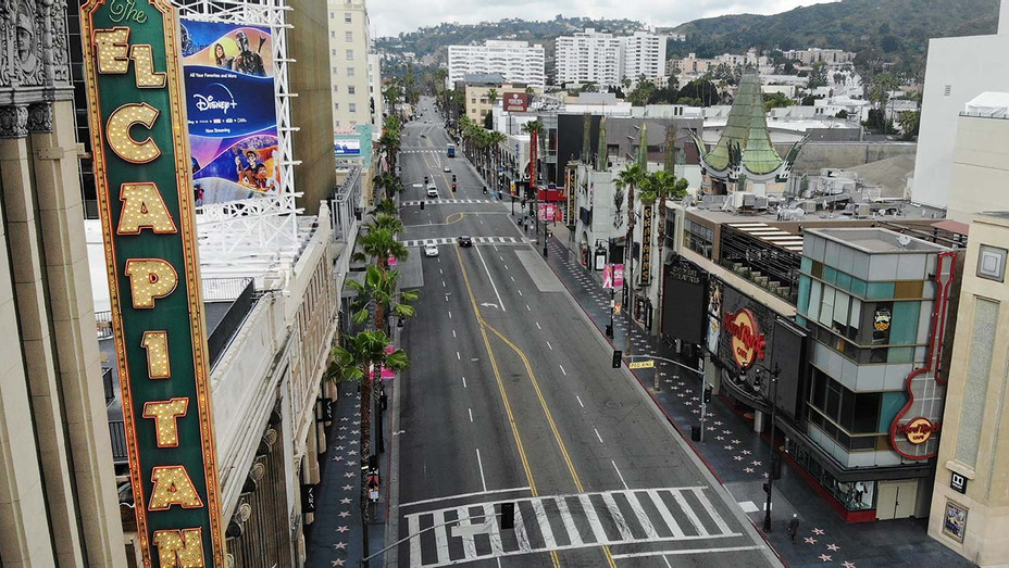 Hollywood Boulevard - aerial view-COVID-19.- April 18, 2020- Getty-H 2020