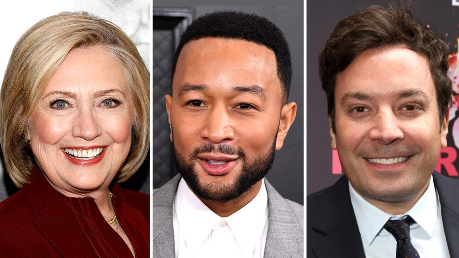 Hillary Clinton, John Legend and Jimmy Fallon - Getty - Split - H 2020