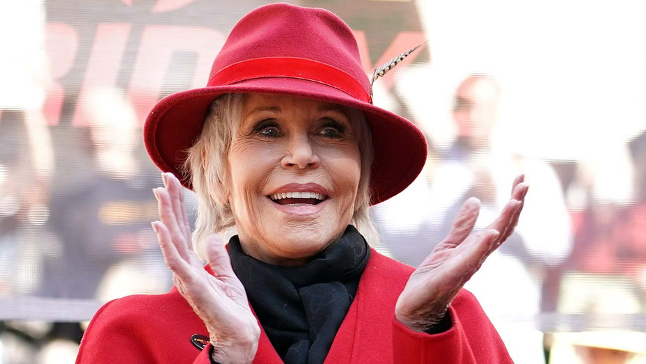 Jane Fonda speaks during Jane Fonda's Fire Drill Friday at Los Angeles City Hall on February 07, 2020 - Getty - H 2020