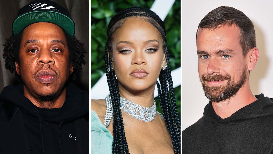 Jay Z, Rihanna, Jack Dorsey - Getty - Split - H 2020