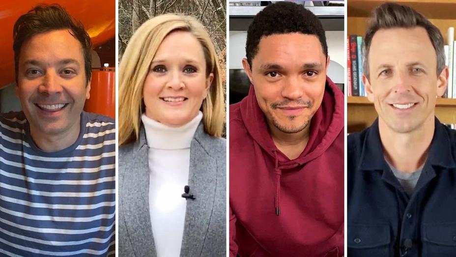 Jimmy Fallon, Samantha Bee, Trevor Noah and Seth Meyers- at home shows - Publicity - Split - H 2020