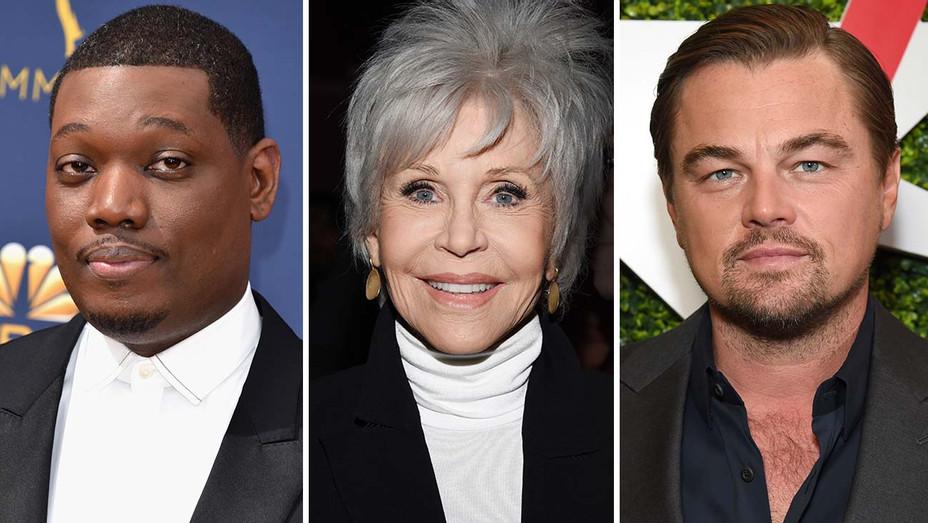 Michael Che, Jane Fonda and Leonardo DiCaprio-Split-Getty-H 2020