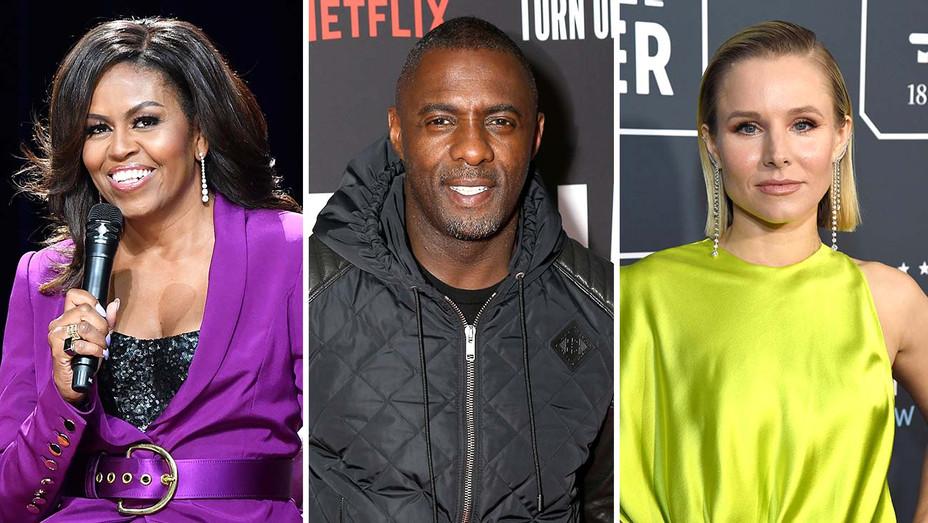 Michelle Obama, Idris Elba and Kristen Bell - Getty - Split - H 2020