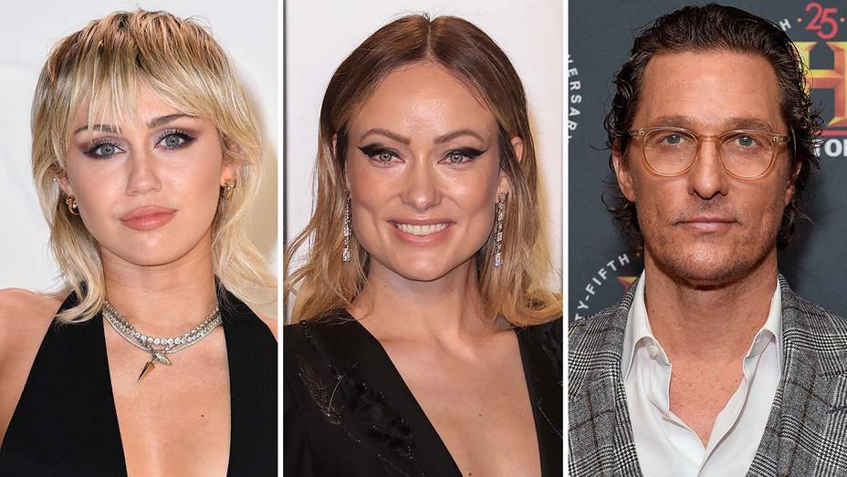 Miley Cyrus, Olivia Wilde and Matthew McConaughey_Split - Getty - H 2020