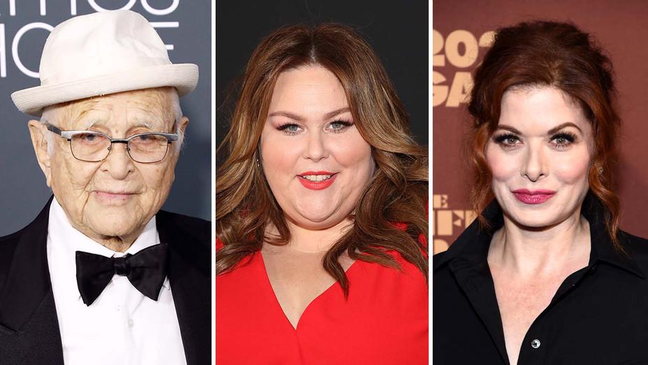 Norman Lear, Chrissy Metz and Debra Messing - Getty - Split - H 2020