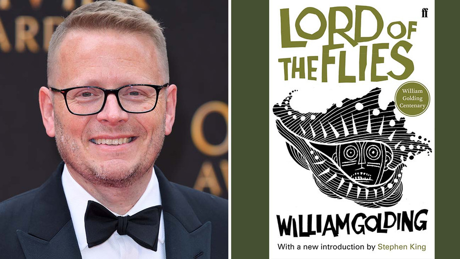 Patrick Ness split with book cover of Lord of the Flies-Split-H 2020
