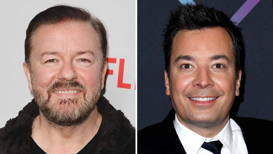 Ricky Gervais and Jimmy Fallon - Getty - Split - H 2020