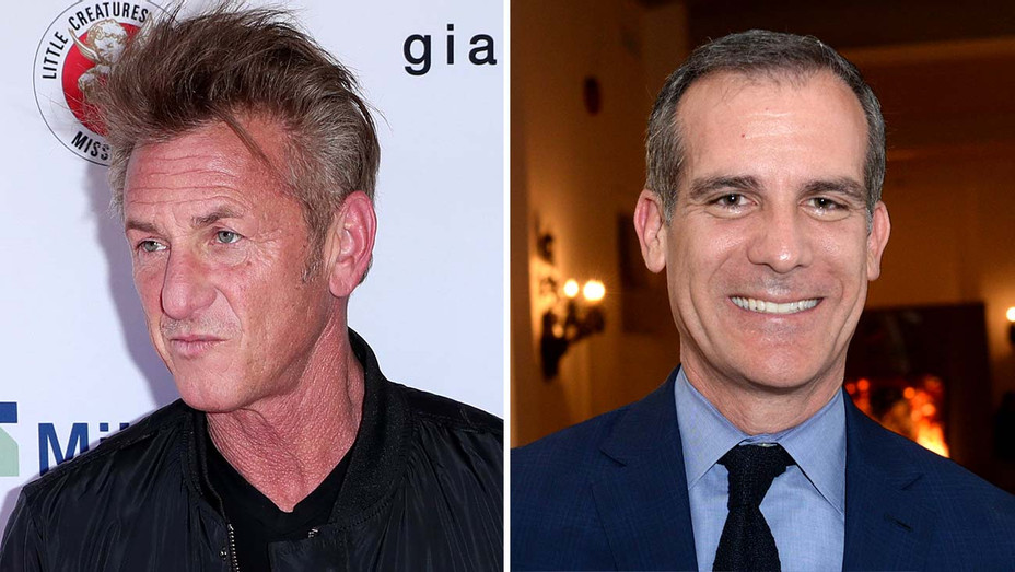 Sean Penn - Mayor Garcetti - Getty - Split - H 2020