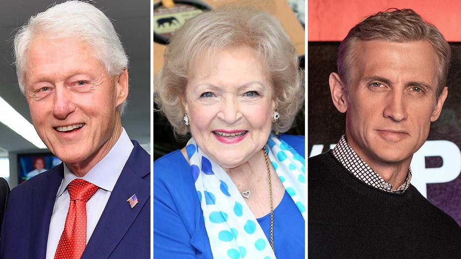 Bill Clinton, Betty White and Dan Abrams (in A&E's Live PD) - Getty - Publicity still - Split - H 2020