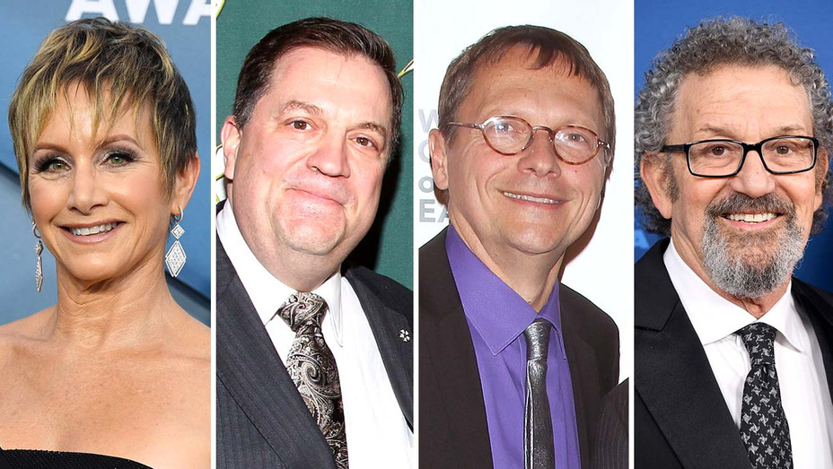 Gabrielle Carteris, IATSE leader Matthew Loeb, WGAE leader Lowell Peterson and DGA leader Thomas Schlamme-Getty - Split - H 2020