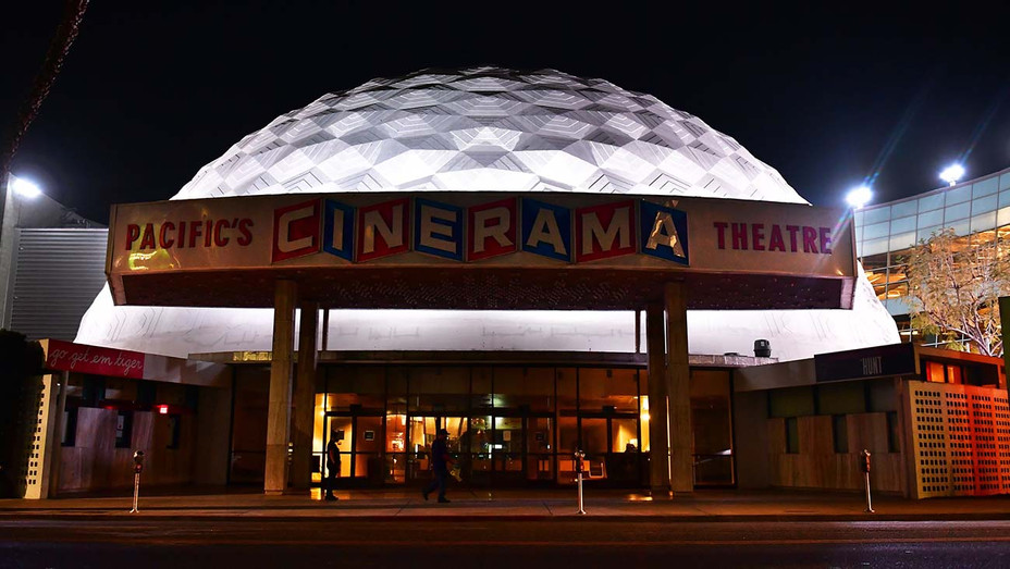 The dome remains lit up at the now closed Arclight Cinema on Sunset Boulevard - May 5, 2020- Getty-H 2020