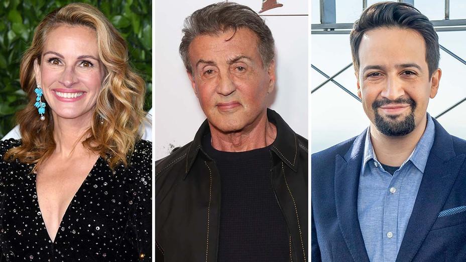 Julia Roberts, Sylvester Stallone and Lin-Manuel Miranda-SPLIT-Getty-H 2020