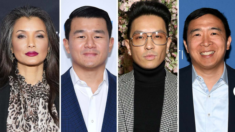 Kelly Hu - Ronny Chieng - Prabal Gurung-Andrew Yang - Getty - Split - H 2020