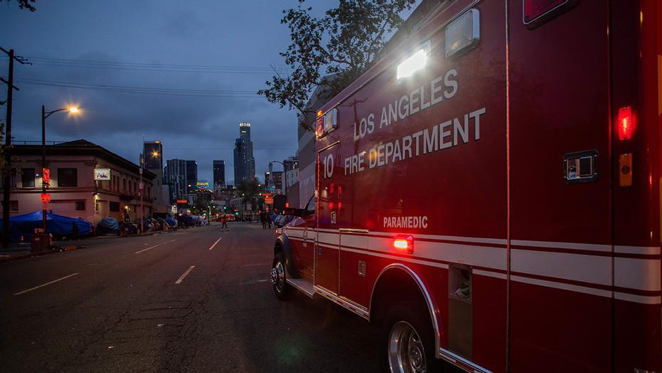 LAFD Firetruck Heads to Downtown LA - H - 2020