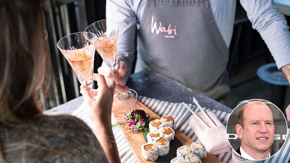 Wabi on Rose restaurant with inset of Rob Moore- Publicity - Getty - Inset - H 2020