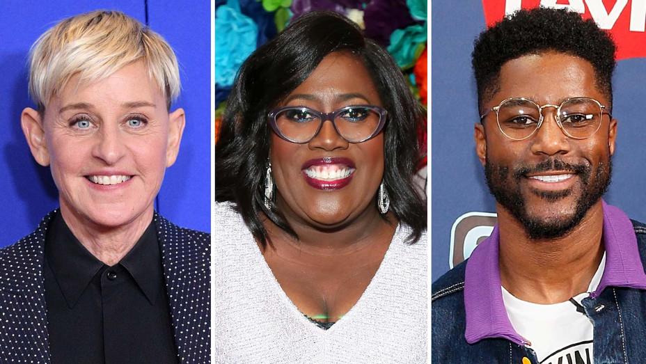 Ellen DeGeneres, Sheryl Underwood, Nate Burleson - Getty - Split - H 2020