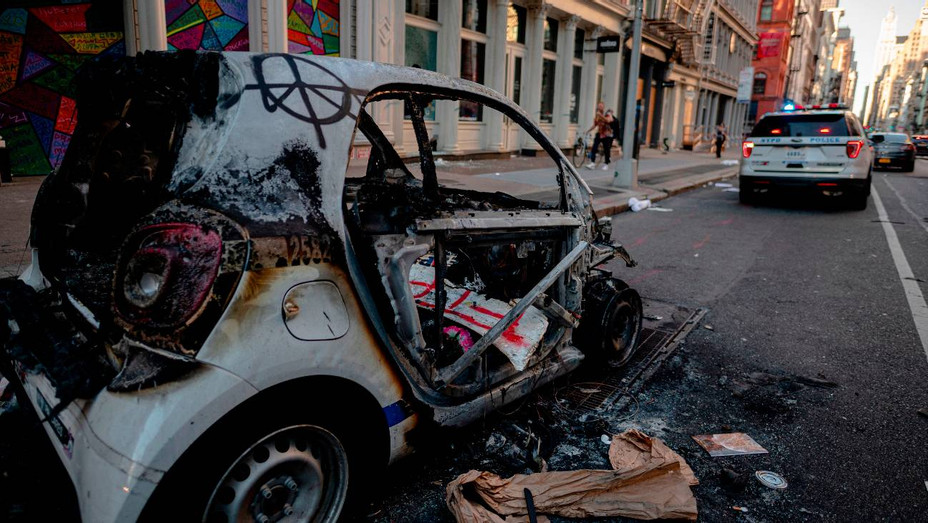 Destroyed Police Car After Protests in Lower Manhattan - H Getty 2020