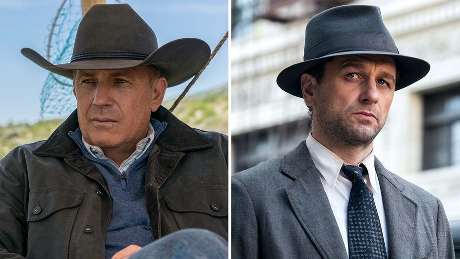 Kevin Costner in Yellowstone and Matthew Rhys in Perry Mason -SPLIT-Publicity-H 2020