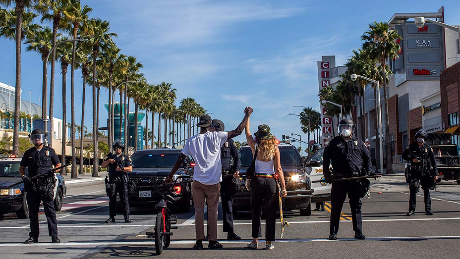 May 31, 2020 during a protest against the death of George Floyd-downtown Long Beach-California - Getty - H 2020
