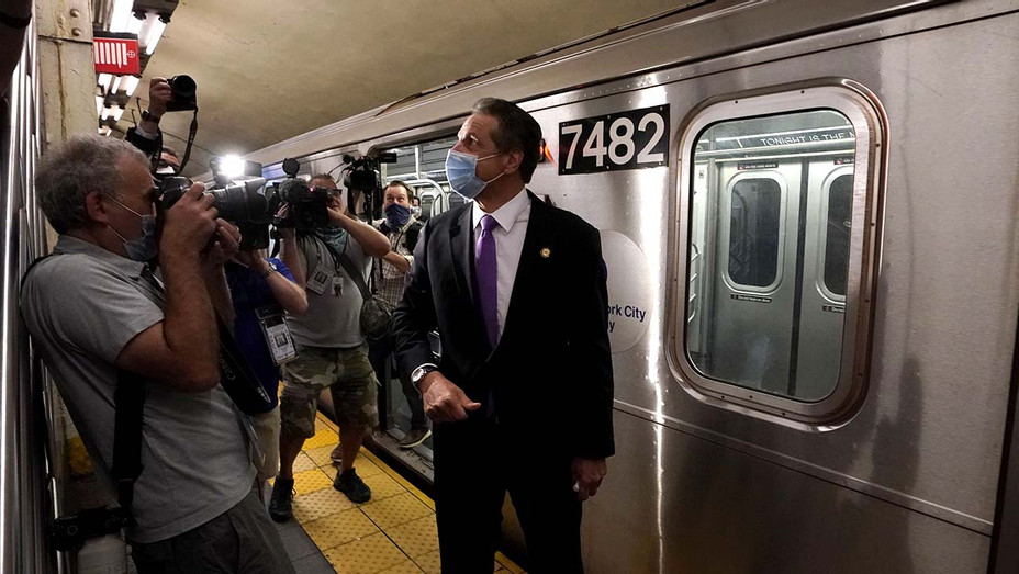 New York Governor Andrew Cuomo walks after riding the New York City subway 7 train into the city on June 8, 2020 in New York - Getty - H 2020