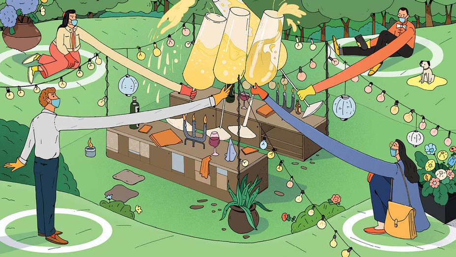 ONE TIME USE ONLY-Partying Amid a Pandemic-distant corners-Illustration by Maxim Usik- H 2020