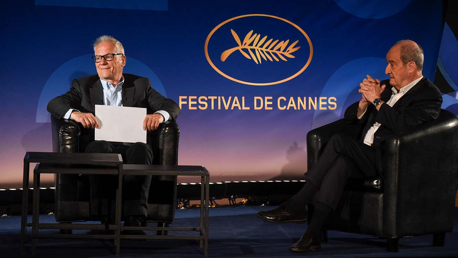 Thierry Fremaux and Pierre Lescure are seen on stage as they attend the 73rd Cannes Film Festival- June 3 2020-Cannes, France - Getty - H 2020