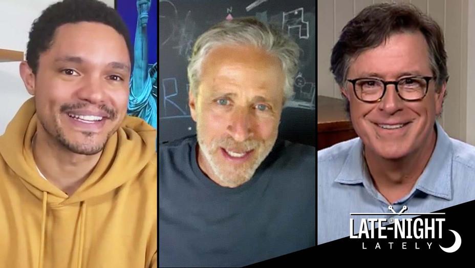 Late Night Lately June 27 graphic overlay- Trevor Noah,Jon Stewart and Stephen Colbert-H 2020