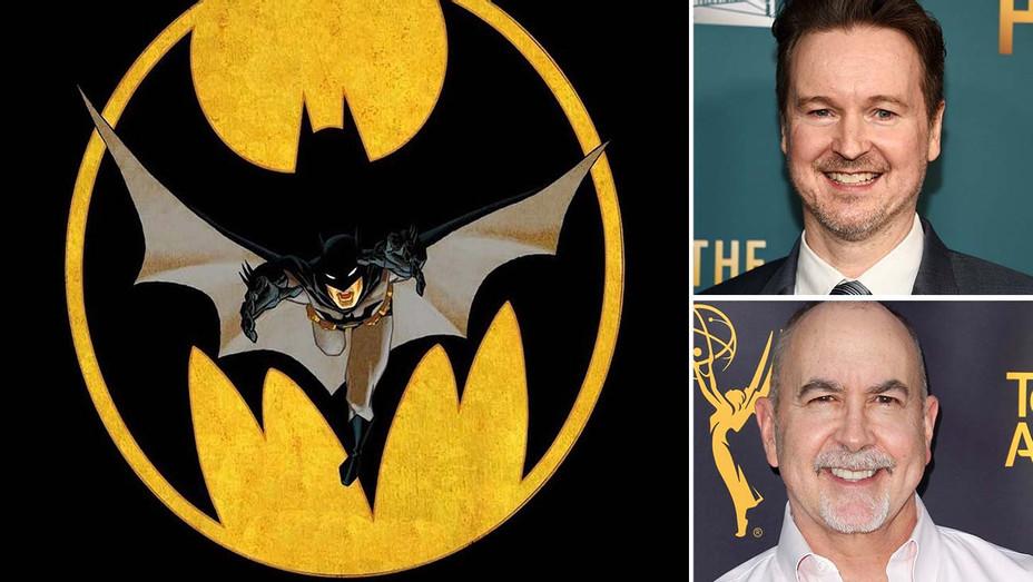 Batman art -and inset of Matt Reeves and Terence Winter - Split-H 2020