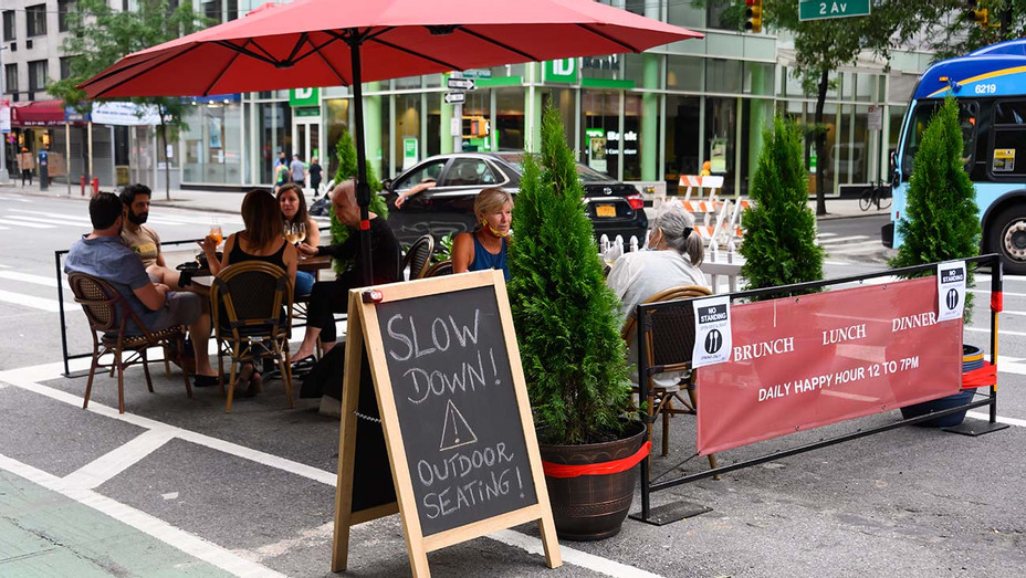 Customers dine outside a restaurant on the Upper East Side as New York City June 30, 2020 - Getty-H 2020