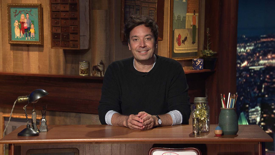 THE TONIGHT SHOW STARRING JIMMY FALLON - Jimmy Fallon arrives to his desk on July 13, 2020- Publicity-H 2020