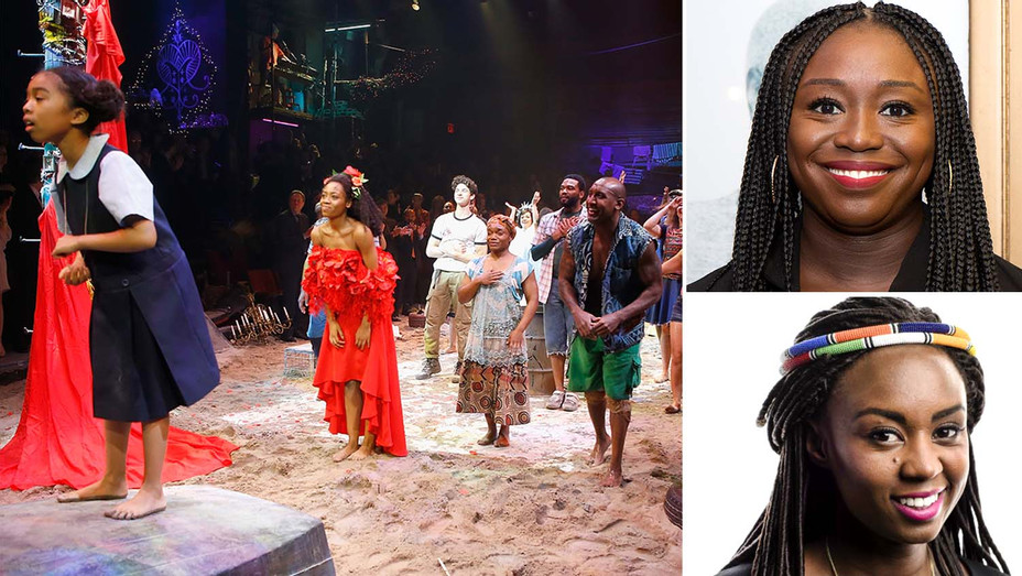 Once on this Island Production 2017, with inset of Jocelyn Bioh-Wanuri Kahiu-Split-H 2020